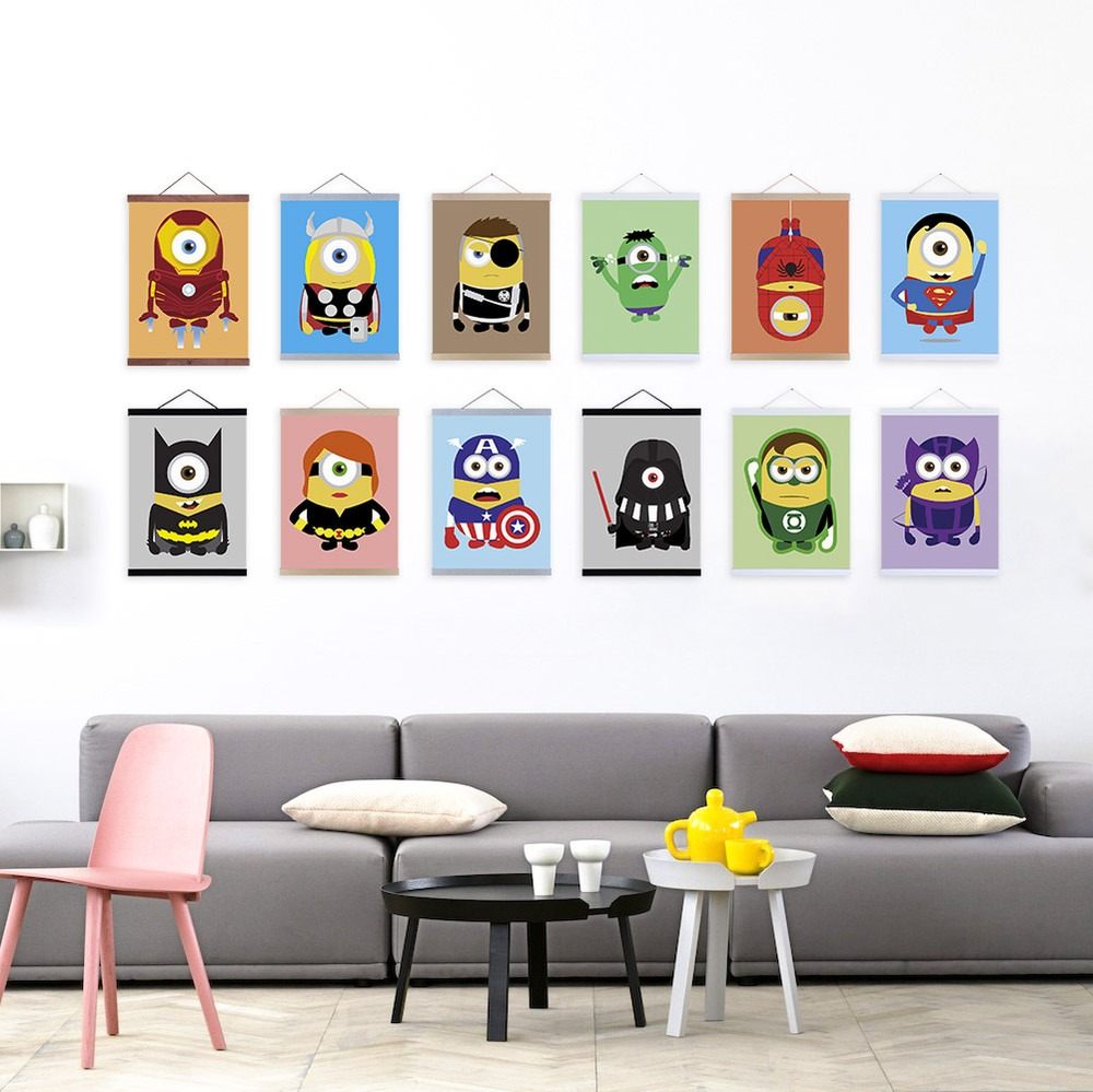 Anime super hero minion avenger pop movie a4 poster print for Pop wall art