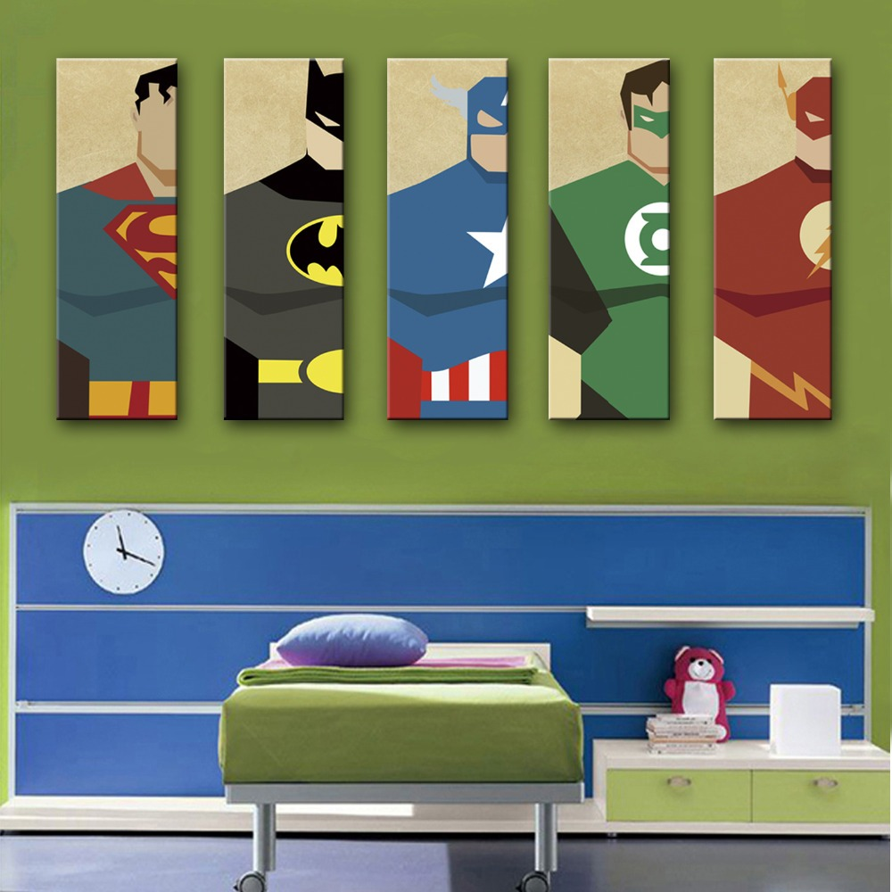 Free shipping e home stretched canvas art super hero decoration painting one pcs home decor on - Home decor promo code paint ...