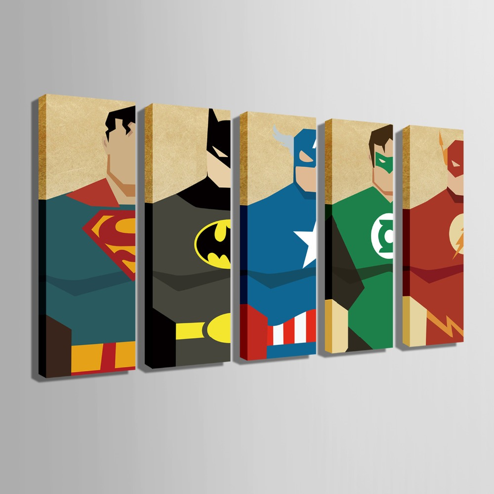 Free shipping e home stretched canvas art super hero for Superhero wall art