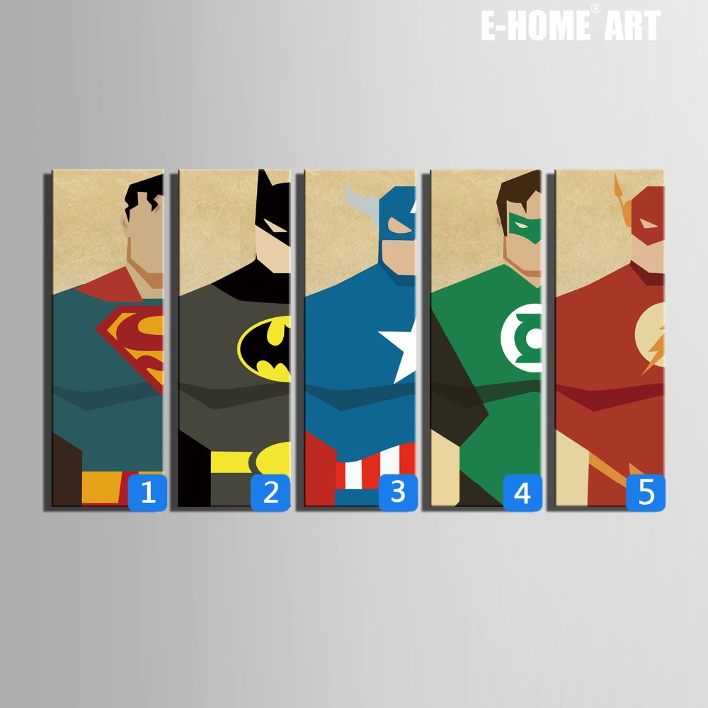Free shipping e home stretched canvas art super hero for Art painting for home decoration